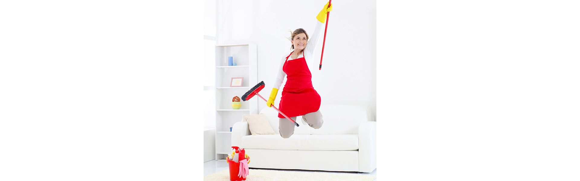 Springende Reinigungskraft